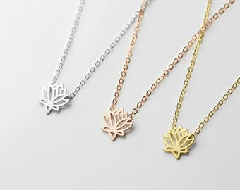Lotus Necklace Yoga Jewelry Lotus Flower Jewelry Lotus Pendant Necklace Nature Lover Jewelry Lotus Flower Necklace Inspirational Gift - CLN