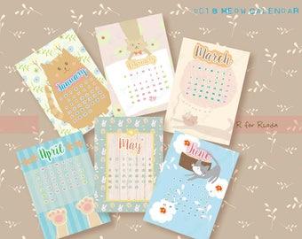 Printable Calendar 2018, digital calendar, monthly calendar, 12 months, Downloadable calendar, Cat mois calendrier, kid calendar download