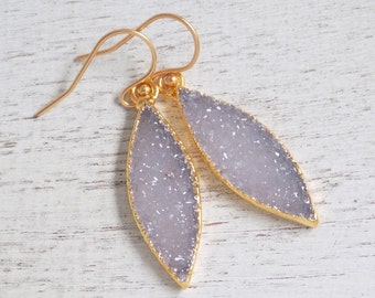 Druzy Earrings, Light Gray Druzy Earrings, Marquise Earrings, Gold Drop Earrings, Dangle Gemstone Earrings, Clip-on Earrings, Gift, R2-52