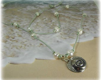 Shell and Pearl Necklace, Beach Necklace, Pearl and Leather Necklace