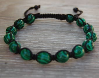 Malachite Bracelet,Gemstone 10mm Beads,Shamballa Bracelet,Yoga,Meditation Bracelet,Gemstone,Man,Women,Beaded Jewelry,Gift,Ethnic Bracelet