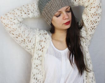 Grey beanie Hand knit hat Pom pom beanie hat Wool winter knit hat Chunky knit beanie Hat with bobble Tam Toque Ski Cap Textured beanie