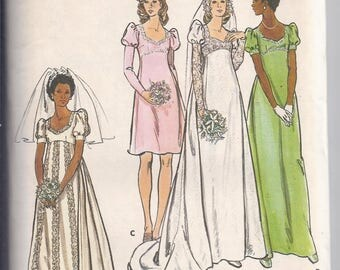 Vintage 1970's Butterick 3478 Sewing Pattern: Bridal Gown and Bridesmaid Dress, Empire,   Bust 32 1/2