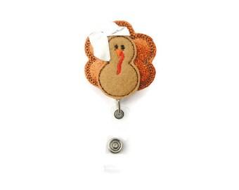 Turkey badge reel - Turkey badge - Turkey name badge - Decorative name badge - Thanksgiving lanyard - Thanksgiving badge reel -