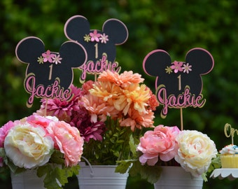 Personalized Minnie Mouse Centerpieces, Minnie Mouse Party Decorations,Custom Minnie Ear,Girl  First Birthday Decorations,