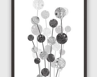 Black&White Flower Pods, Graphic Floral Illustration, Wall Art, DIY, Instant Download, Printable Poster, High Quality PDF, Instant Download