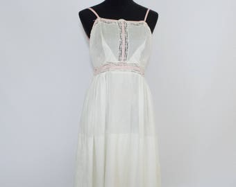 Vintage Antique 30s 40s Womens Small 100% Cotton Slip Nightgown