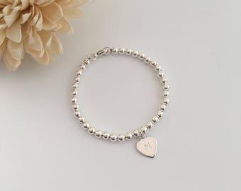 Sterling silver bracelet with initial heart charm, personalised bracelet, flower girl gift, gift for girls, teen girl, tween, daughter gift