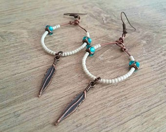 dangling hoops Native American, handcrafted, brass feathers, Rhinestones, miyuki beads