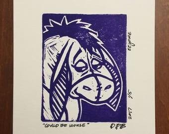 Could Be Worse (Eeyore) Linocut Print