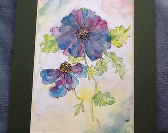 Garden flowers, hand painted watercolour, blue flowers, blue flower picture, wall decor, home decor,