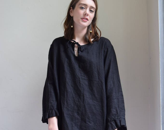 Rowan Black Linen Long Sleeve with Flared Cuff ||  PICK YOUR PRINT.