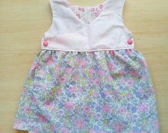Pink floral wrap dress 12-18mths
