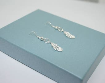 Small Feather Earrings, Silver Feather Earrings, Sterling Silver Feather Earrings, Dangle Earrings, Gift For Her, Boho Earrings