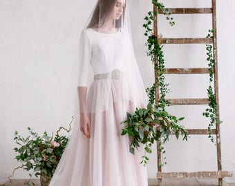 Wedding Veil,  Bridal Veil, Ivory Veil , Chapel Cathedral , Blushing Tulle Veil ,Wide 108'' Veil - Julia