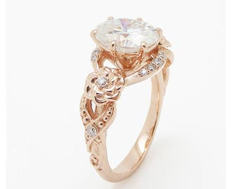 Oval Moissanite Engagement Ring 14K Rose Gold Engagement Ring Moissanite Floral Ring