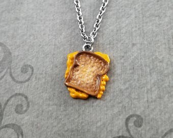 Grilled Cheese Sandwich Necklace Painted Sandwich Charm Necklace Food Jewelry Grilled Cheese Jewelry Pendant Necklace Food Necklace Gift