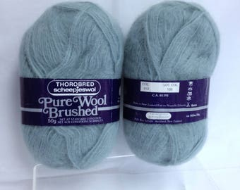 Thorobred Pure Wool Brushed Wool ScheepJeswol Brand Yarn Made in New Zealand 100% Wool Misty Green Fiber Art Wool for Knitting Art Project