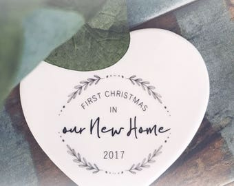First Christmas In Our New Home 2017  ...Ceramic Heart  - Christmas - Keepsake