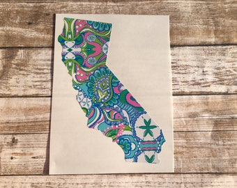 Lilly Pulitzer California Sticker || CA Decal || Monogram California Sticker || California State Outline || Local CA Home Town Love