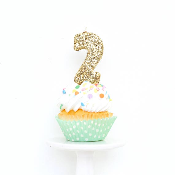 """3"""" Number 2 Candle, Giant 2 Candle, Gold Party Decor, Large Gold Candle, Birthday Candle, 2nd Birthday Candle, Giant Glitter Candle"""