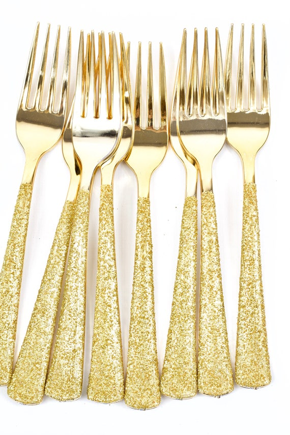 Gold Plastic Fork, Gold Glitter Silverware Gold Utensils Disposable Party Silverware Decorative Tableware Table Settings Birthday Decor
