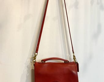 RARE Vintage Red Coach Station Bag | Leather Crossbody Bag with Top Handle