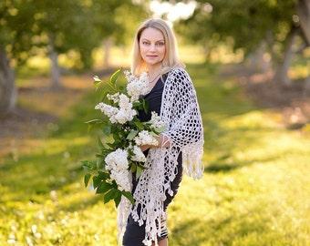 White lace shawl, knitted shawl, estonian lace, Haapsalu Wool Shawl, Knitting Shawl, handmade shawl, Wedding shawl, gift for women