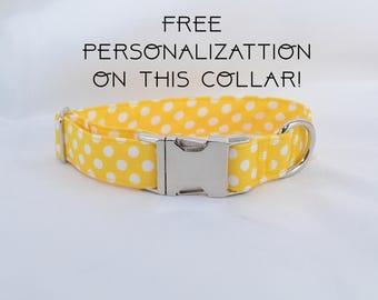 "Yellow polka dots, adjustable dog collar, Metal buckle, medium, 1"", Dog Collar, FREE PERSONALIZATION"