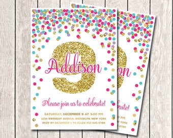 9th Birthday Invitation Girl Birthday Invitation Printable Hot Pink Teal Purple Gold Confetti Invitation Ninth Birthday Party Any Age