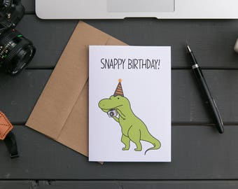 SNAPPY BIRTHDAY! Dinosaur camera birthday greeting card, dino photographer, photography