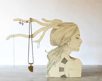 Jewellery Display, original pencil drawing on plywood, home decor, jewelry window, custom gift idea