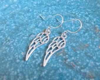Wing earrings, sterling silver earrings, angel earrings, guardian angel