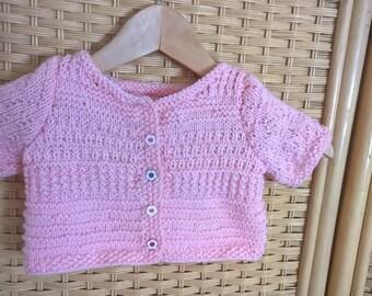 Baby short sleeve Cardigan size 3 / 6 months light pink button flower girl
