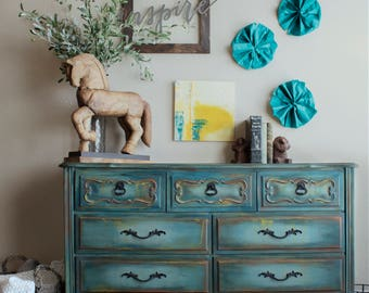 Blue Dresser, French Provincial Dresser, Vintage Dresser, Buffet, Painted  Furniture, Hand