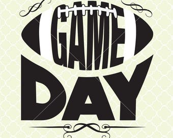Game Day Football SVG DXF Files for Cricut Design, Silhouette studio.