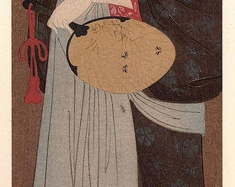 1906, Japanese antique woodblock print, Hosoda Eishi, from Ukiyoe-ha-gashu.