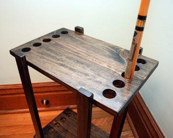 Handmade Pool Cue Stand & Table