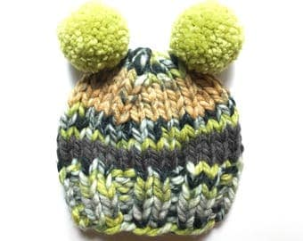 Child Knit Hat, Child Pom Pom Hat, Green Knit Hat, Green Pom Pom Hat, Colorful Hat, Newborn Knit Hat, Toddler Knit Hat, Kid Hat, Beanie