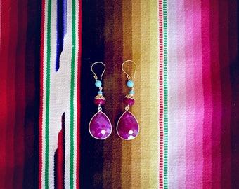 Campania chalcedony, garnet, amazonite and vermeil glam drop earrings