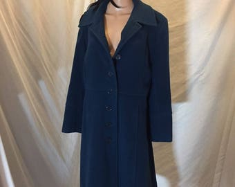 Vintage Halston Indigo Blue Button Front Wool Trench Coat Jacket - Russia - 8
