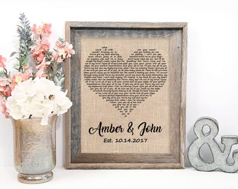 Wedding Gift, One Year Anniversary Gift, First Dance Love Song Lyrics, Personalized Wedding 1st Anniversary Gifts, Christmas Wife Gift Idea