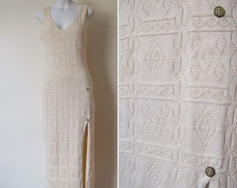 Knit maxi dress french slit cream beige cotton summery elegant casual // L