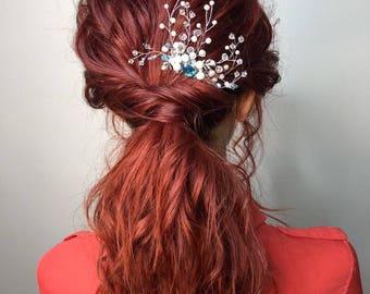 blue bridal hair comb wedding comb bridesmaids hair accessory Bridesmaid headpiece crystals hair comb wedding hair accessories  pearl comb