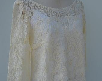 Gown bridal lace blouse lace ivory top long sleeve ivory long sleeve top blouse lace ivory wedding lace blouse