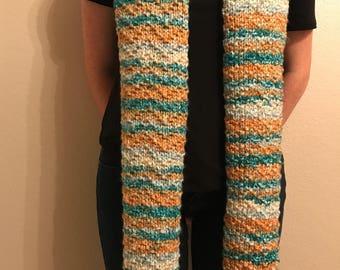 Knit Multicolor Chevron Scarf
