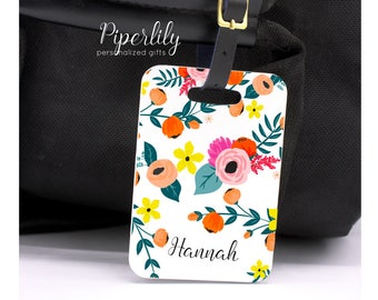 Luggage Tag Personalized Bag Tag Bridesmaid Gift Destination Wedding Bridal Shower Gift Custom Luggage Tags Floral Flowers Name Address