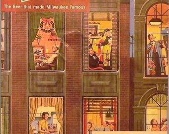 1951 Schlitz Ad Matted Vintage Print