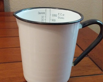 White Enamel Measuring Pitcher with Black Trim