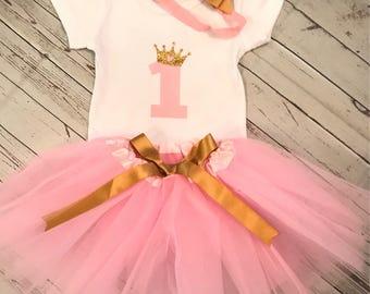 First Birthday, First Birthday Tutu, First Birthday Tutu Outfit, First Birthday Outfit, Pink and Gold First Birthday, Pink Tutu, Gold Onesie